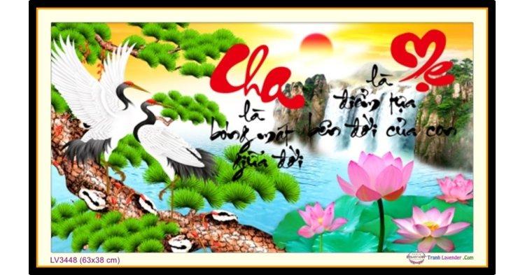 [T-LV3448] Tranh thêu chữ thập thư pháp chữ Cha Mẹ khổ nhỏ (63x38 cm)