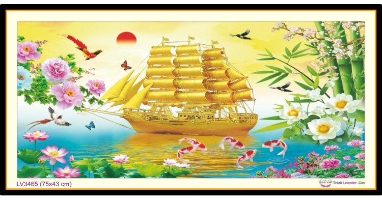 [T-LV3465] Tranh thêu chữ thập thư pháp chữ Nhẫn - Thuận buồm xuôi gió khổ nhỏ (75x43 cm)