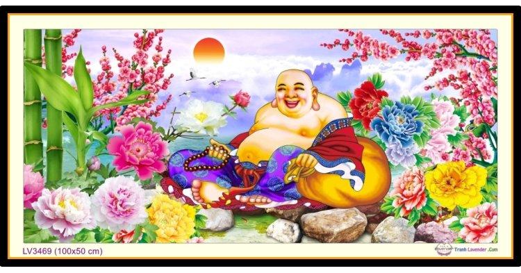 [T-LV3469] Tranh thêu chữ thập Tiếu Khẩu Thường Khai - Phật Di Lặc khổ nhỏ (100x50 cm)
