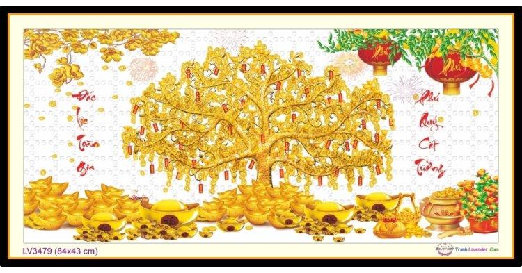 [T-LV3479] Tranh thêu chữ thập Cây Tài Lộc 1 khổ nhỏ (84x43 cm)