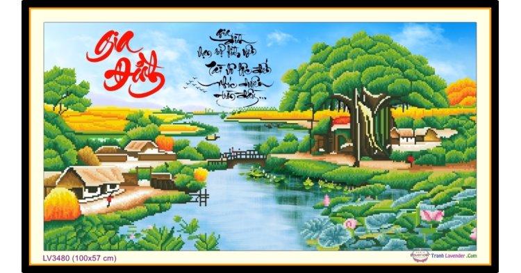 [T-LV3480] Tranh thêu chữ thập phong cảnh làng ven sông - thư pháp Gia Đình khổ trung bình (100x57 cm)