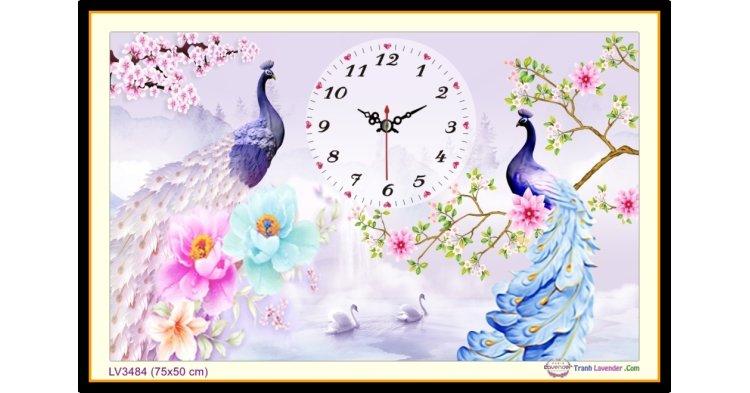 [T-LV3484] Tranh thêu chữ thập đồng hồ Chim Công khổ nhỏ (75x50 cm)