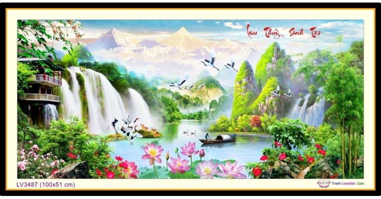 [T-LV3487] Tranh thêu chữ thập phong cảnh Lưu Thủy Sinh Tài khổ nhỏ (100x51 cm)
