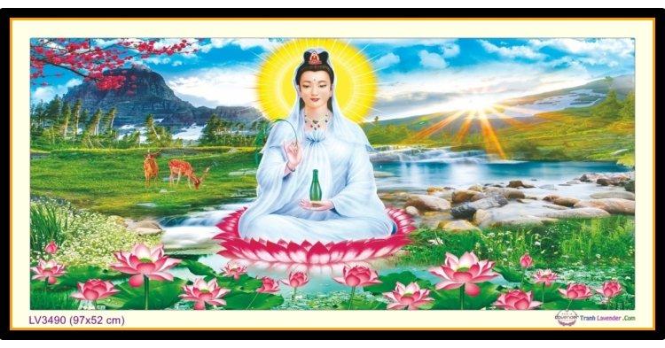 [T-LV3490] Tranh thêu chữ thập Phật Bà Quan Âm khổ nhỏ (97x52 cm)