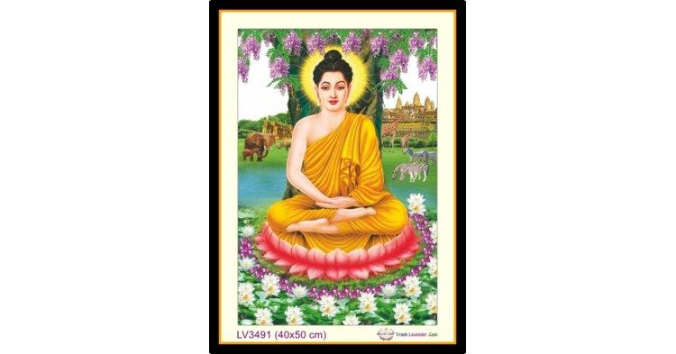 [T-LV3491] Tranh thêu chữ thập Phật Tổ - Thích Ca Mâu Ni khổ nhỏ (40x50 cm)