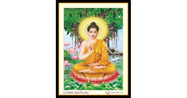 [T-LV3494] Tranh thêu chữ thập Đức Phật Ngồi gốc Bồ Đề khổ nhỏ (50x70 cm)