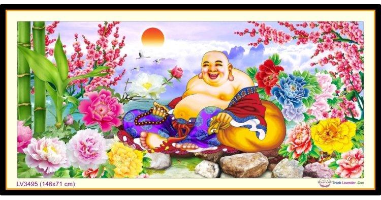 [T-LV3495] Tranh thêu chữ thập Phật Di Lặc  khổ lớn (146x71 cm)