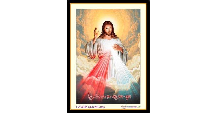 [T-LV3496] Tranh thêu chữ thập Chúa Giê-su (Jesus)s khổ nhỏ (43x59 cm)