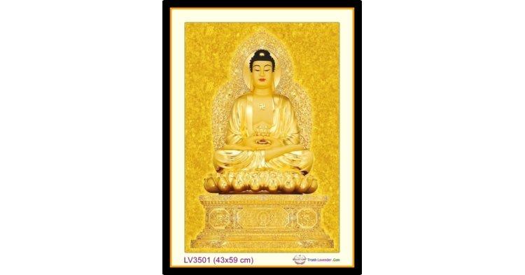 [T-LV3501] Tranh thêu chữ thập Phật Tổ Như Lai khổ nhỏ (43x59 cm)