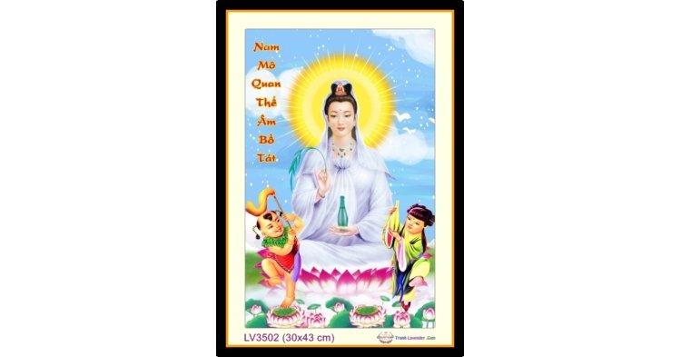 [T-LV3502] Tranh thêu chữ thập Phật Bà Ngồi Đài Sen khổ nhỏ (30x43 cm)
