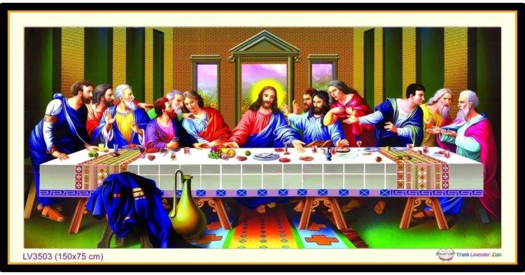 [T-LV3503] Tranh thêu chữ thập Bữa Tiệc Ly - Bữa ăn tối cuối cùng của Chúa khổ lớn (150x75 cm)