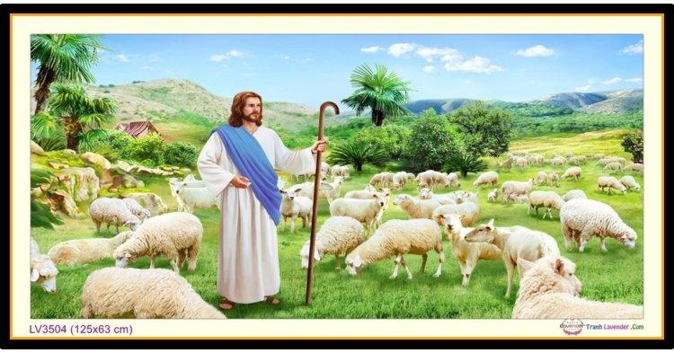 [T-LV3504] Tranh thêu chữ thập Chúa Chăn Cừu - Người chăn chiên lành khổ lớn (125x63 cm)