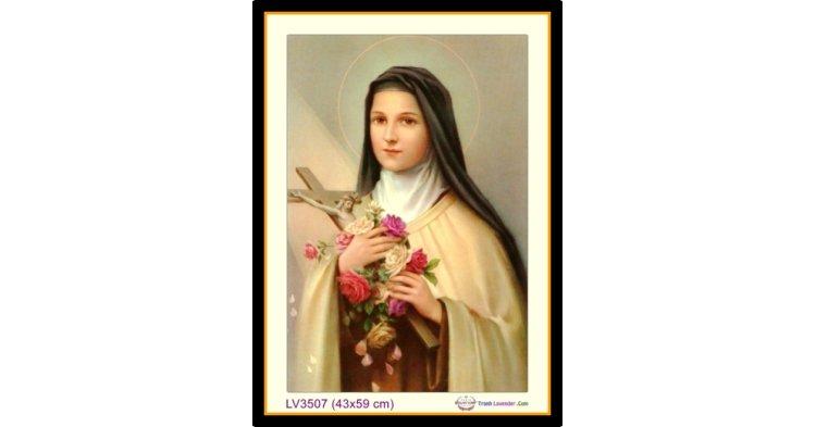 [T-LV3507] Tranh thêu chữ thập Đức Mẹ Maria khổ nhỏ (43x59 cm)