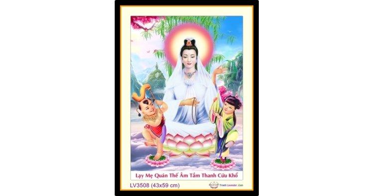 [T-LV3508] Tranh thêu chữ thập Phật Bà Quan Âm khổ nhỏ (43x59 cm)