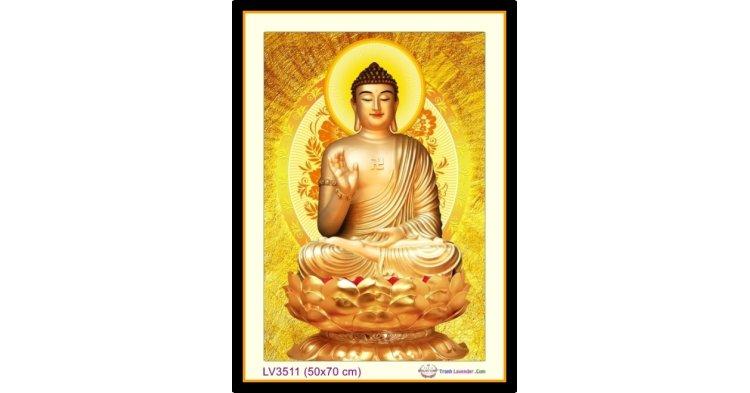 [T-LV3511] Tranh thêu chữ thập Phật Tổ Như Lai khổ nhỏ (50x70 cm)