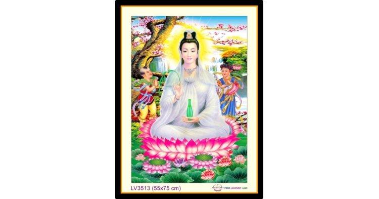 [T-LV3513] Tranh thêu chữ thập Phật Bà Quan Âm khổ nhỏ (55x75 cm)