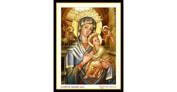 [T-LV3514] Tranh thêu chữ thập Đức Mẹ Maria khổ nhỏ (45x60 cm)