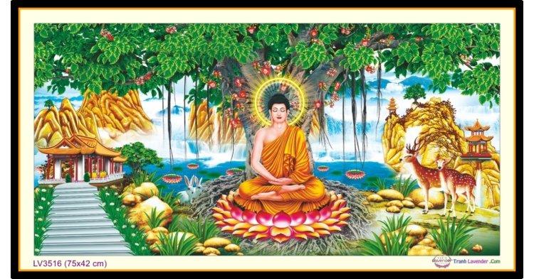 [T-LV3516] Tranh thêu chữ thập Phật Thích Ca Mâu Ni khổ nhỏ (75x42 cm)
