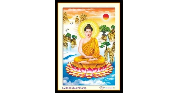 [T-LV3518] Tranh thêu chữ thập Phật Tổ - Thích Ca Mâu Ni khổ nhỏ (50x70 cm)