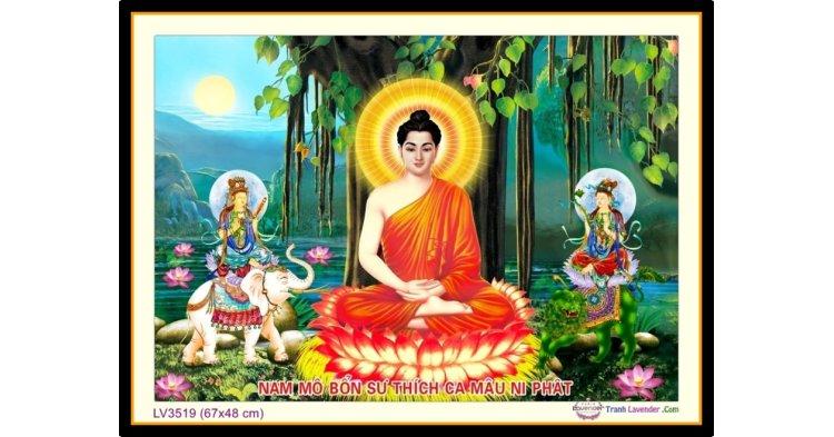[T-LV3519] Tranh thêu chữ thập Đức Phật Ngồi Gốc Bồ Đề khổ nhỏ (67x48 cm)