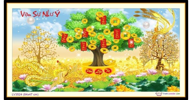 [T-LV3524] Tranh thêu chữ thập cây Vạn sự như Ý khổ nhỏ (84x47 cm)