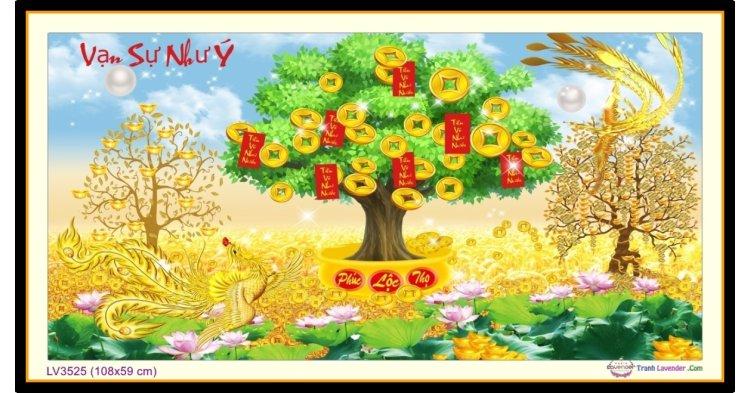 [T-LV3525] Tranh thêu chữ thập cây Vạn sự như Ý khổ trung bình (108x59 cm)