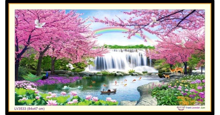 [T-LV3533] Tranh thêu chữ thập phong cảnh Tụ Tài Phát Lộc khổ nhỏ (84x47 cm)